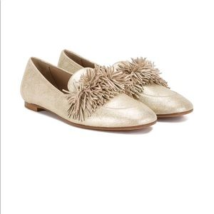 Aquazurra gold metallic fringe flats